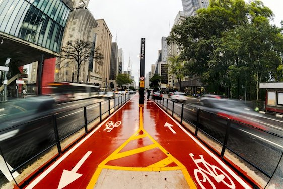 A cycle lane or bike lane was built at the center of Paulista Avenue located at Sao Paulo city, Brazil. It was opened at June/2015