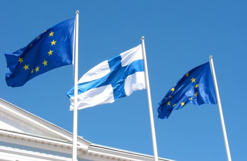Flags of European Union and Finland