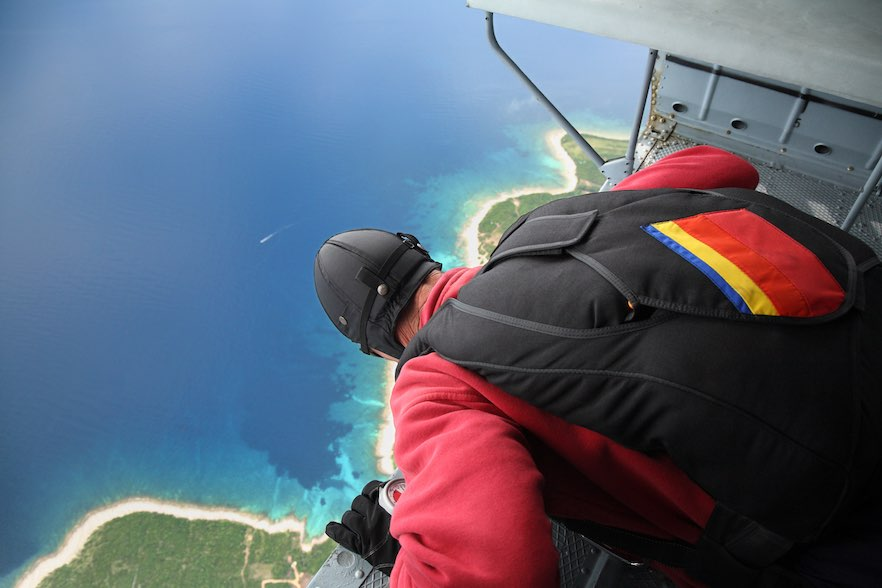 Parachuter before jump from the helicopter-Altitude 3000 feet-Losinj Island-Croatia