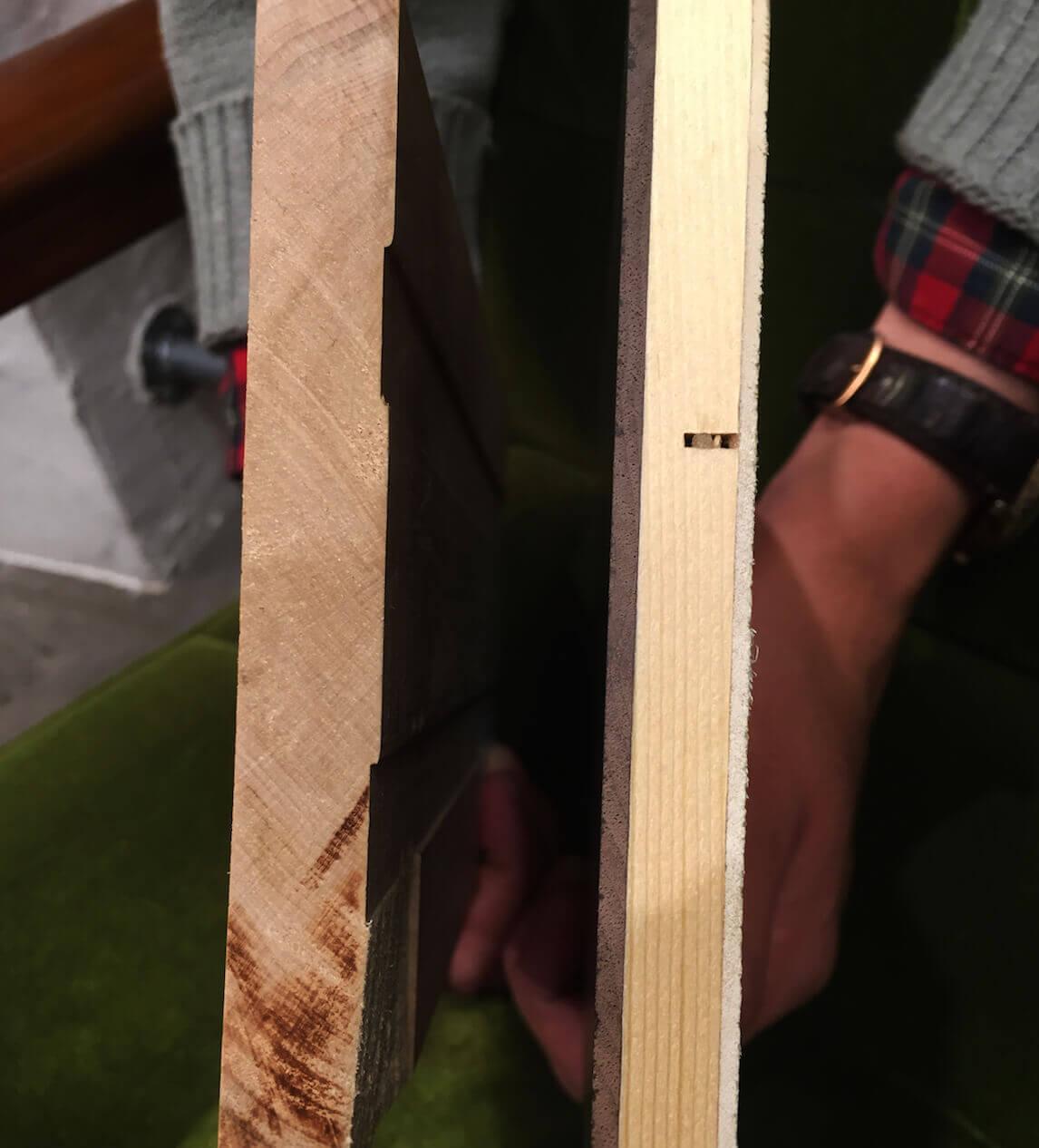 無垢材と集成材の断面